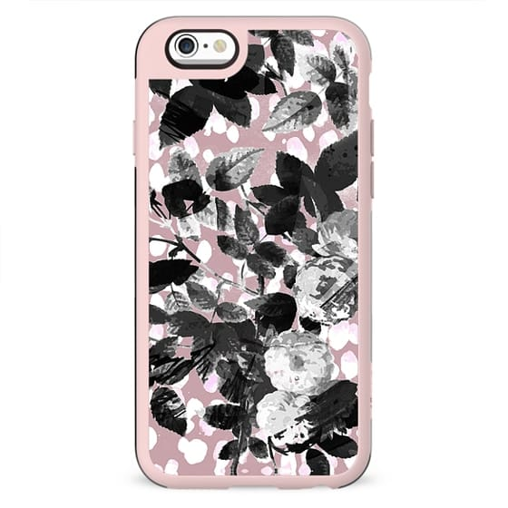 Monochrome roses on pastel pink