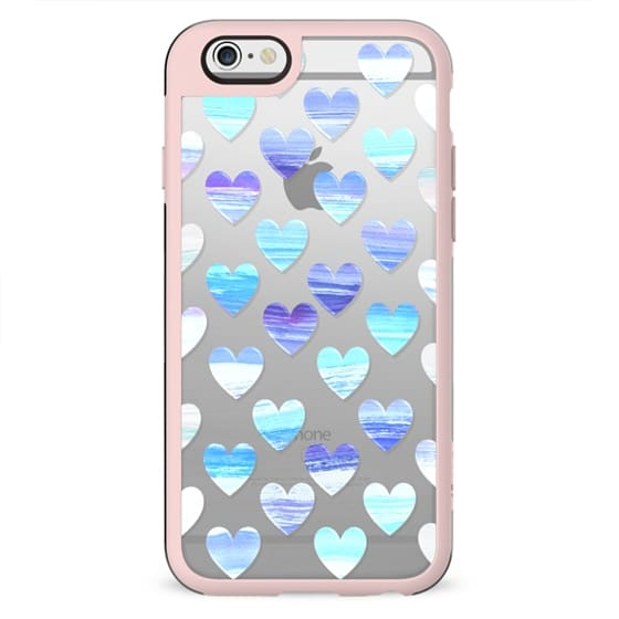 Painted blue hearts winter design