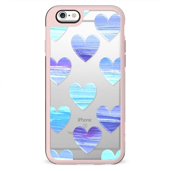 Brushed blue hearts