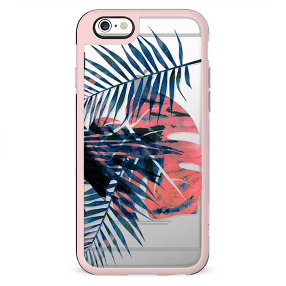 Watercolor tropical leaves clear
