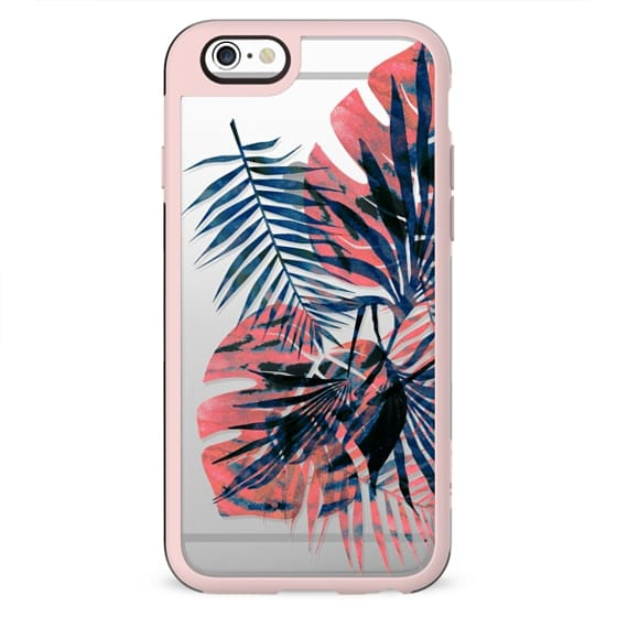Painted tropical leaves clear case