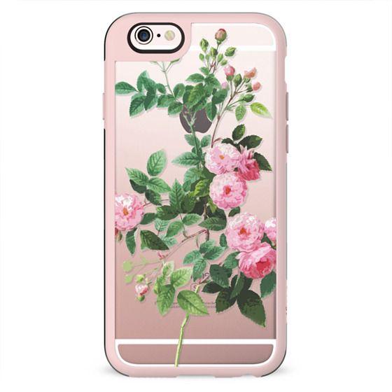 Pink rose botanical clear case