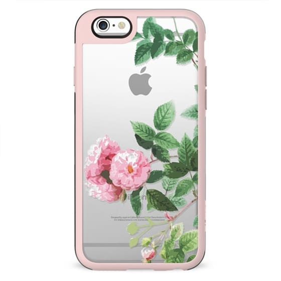 Pink roses and green leaves clear case