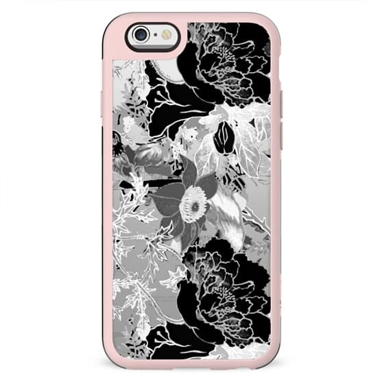 Black and white clear case floral illustration