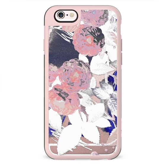 Painted pink roses clear case