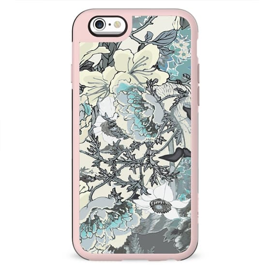 Pastel turquoise botanical illustration