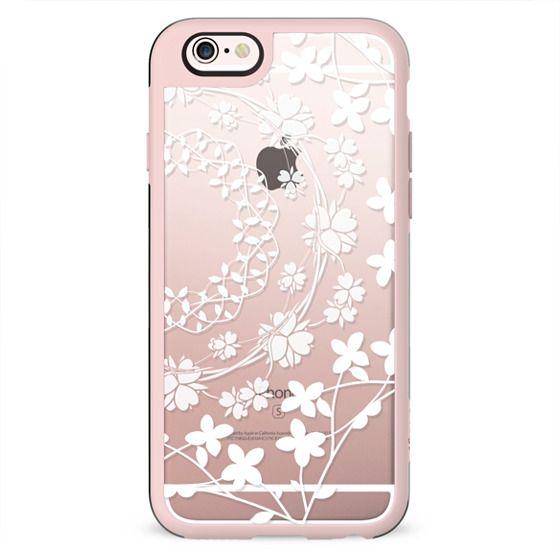 White florals clear case