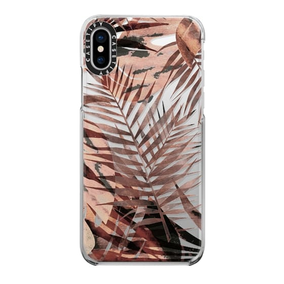 iPhone 7 Plus Cases - Brown tropical painted leaves clear case