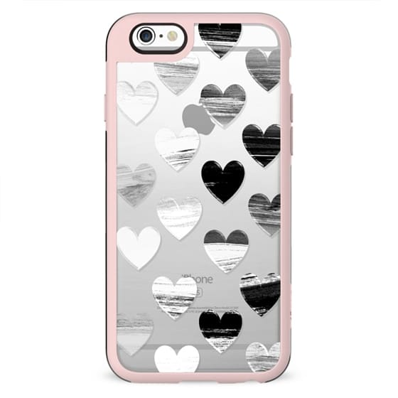 Black and white marble brushed hearts