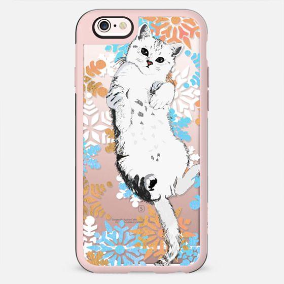 White kitty and colourful snowflakes