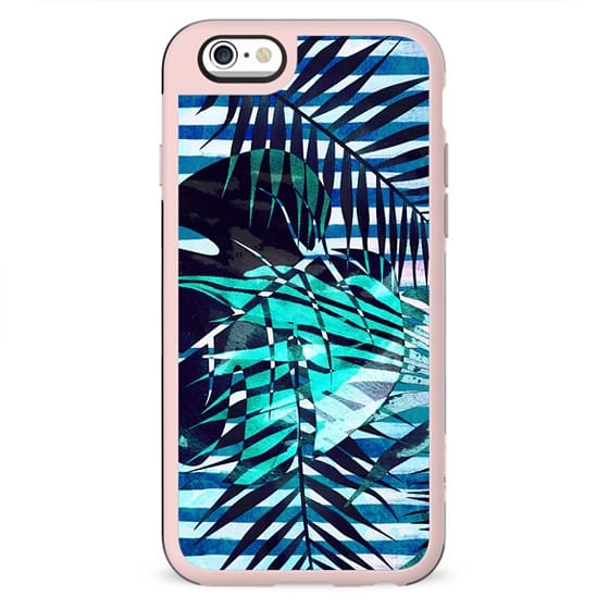 Tropical leaves and marine blue stripes