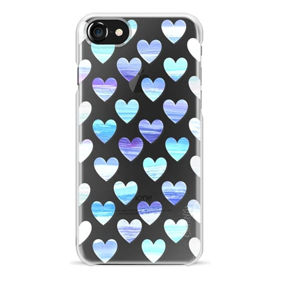 iPhone 7 Plus Cases - Blue valentine hearts watercolor painting