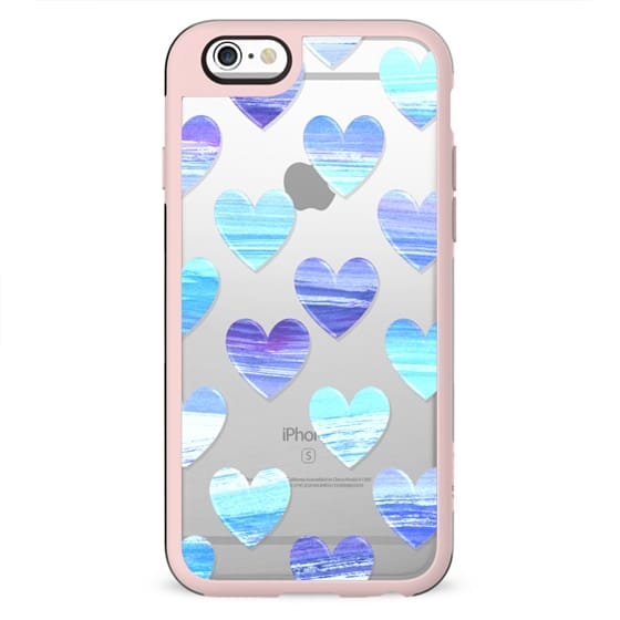 blue white gradient painted hearts clear