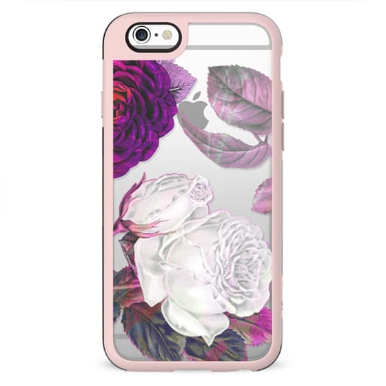 White pink roses clear case botanical