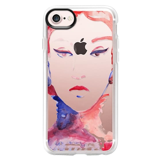 iPhone 7 Plus Cases - Red pink watercolor fashion sketch