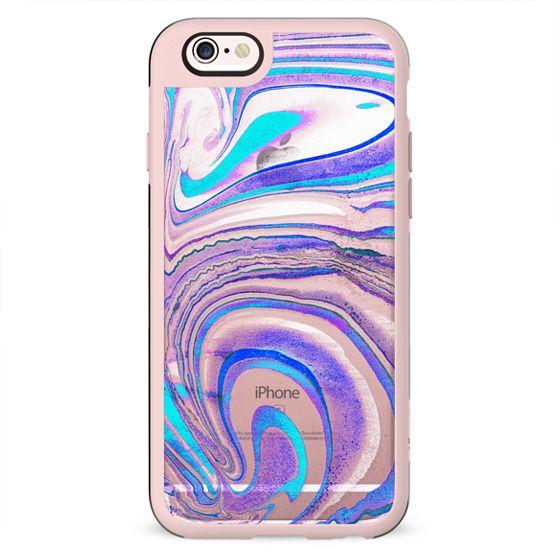 Blue purple transparent marble painting