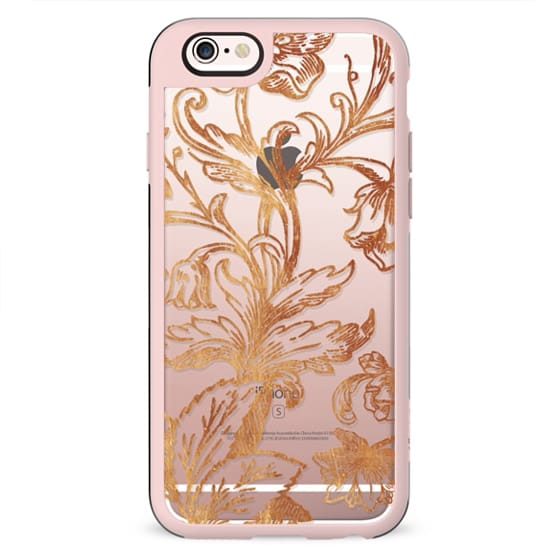 Golden flowers and foliage lace illustration clear case