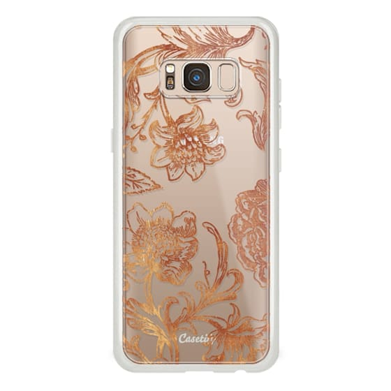 iPhone 6s Cases - Golden flowers and foliage lace illustration clear