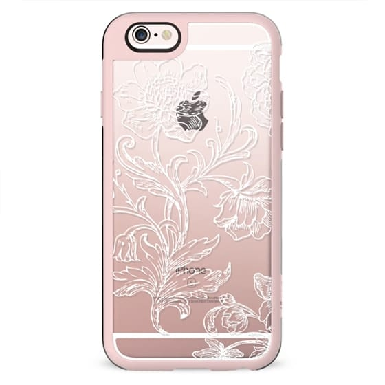 White flower line art lace clear case