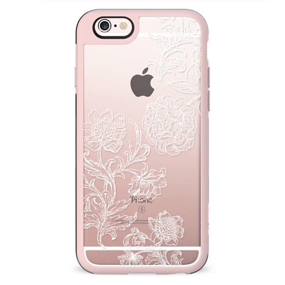 White floral line art lace clear