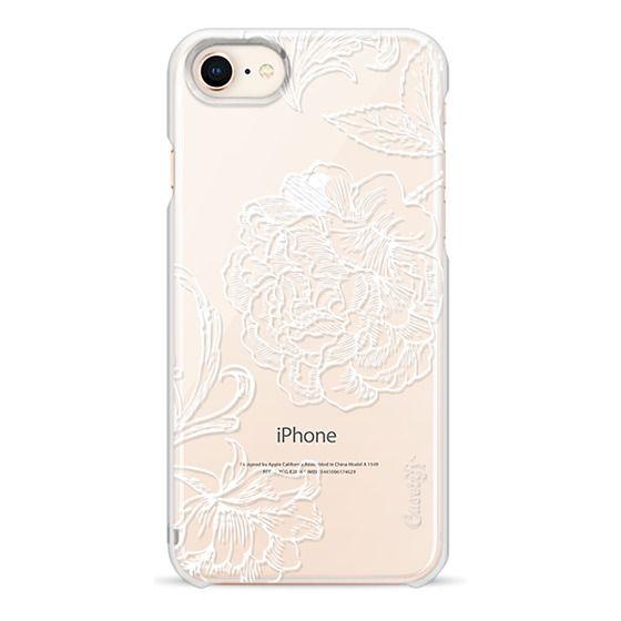 iPhone 7 Plus Cases - White floral line art lace clear