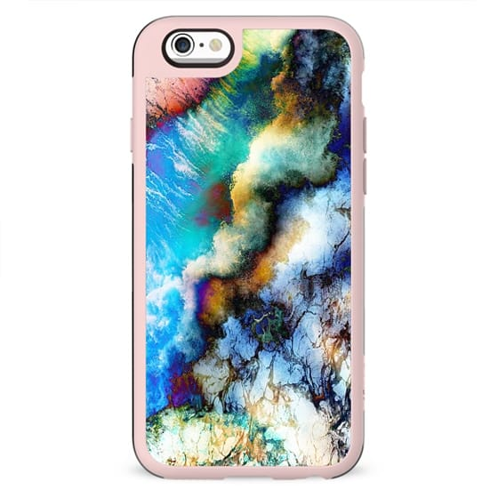 Abstract colorful vibrant marble clouds painting