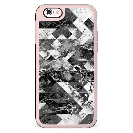 Marble cracked geometric black and white