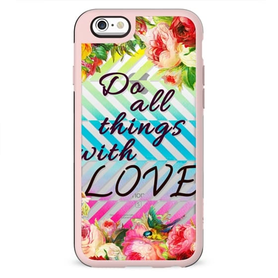 Do all things with love flowers and watercolor stripes