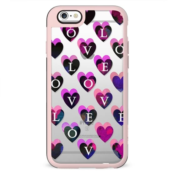 Love painted magenta hearts clear case