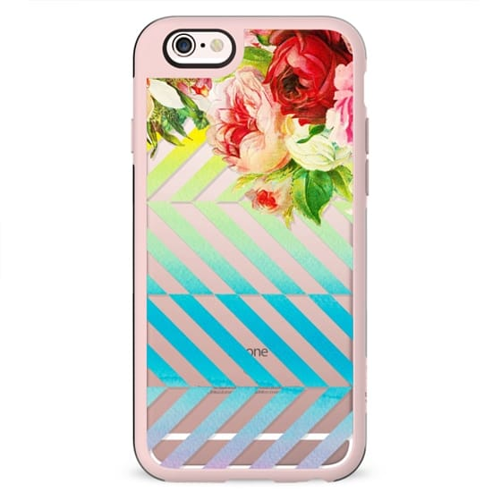 Vintage roses and watercolor dynamic stripes clear