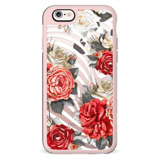 Romantic red white roses and white stripes clear