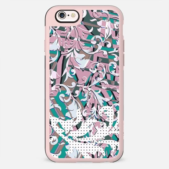 Dots and pastel green pink foliage pop art