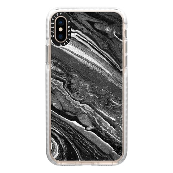 iPhone XS Cases - Monochrome marble lines