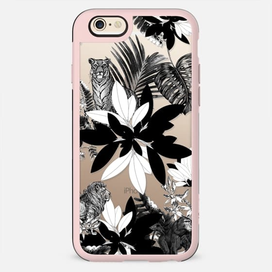 Black and white palm leaves and animals