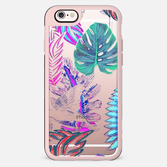 Neon bright jungle leaves