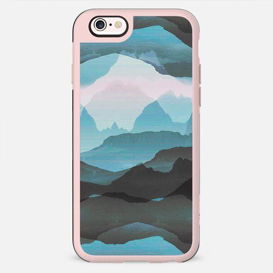 Pastel blue mountain landscape