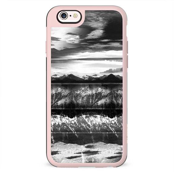 Monochrome mountain lake landscape
