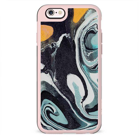 Liquid black-turquoise marble