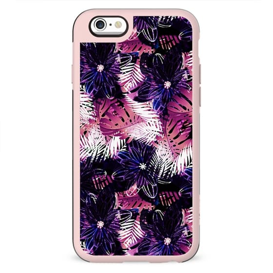 Tropical white and magenta palm leaves