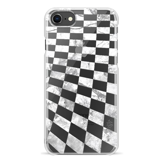 iPhone 7 Plus Cases - White marble checks pattern