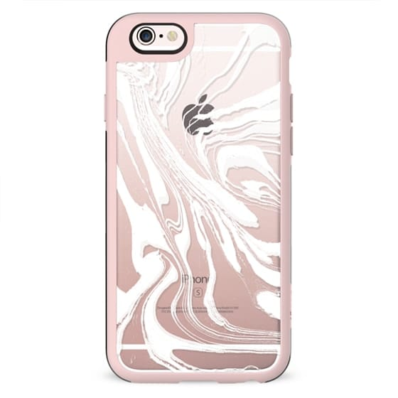 Clear case white marble lines