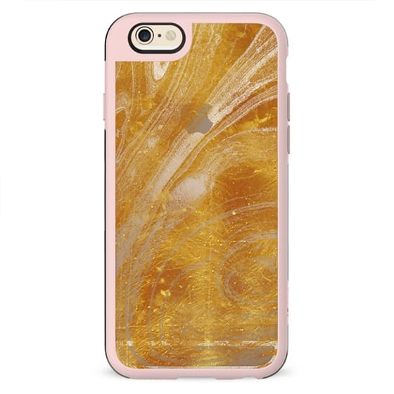 Golden marble texture clear case