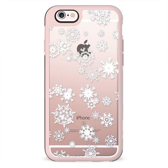 White snowflakes clear case