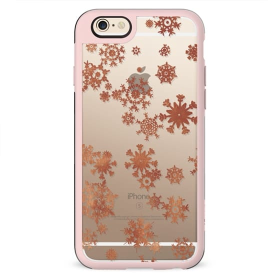 Winter golden snowflakes clear case