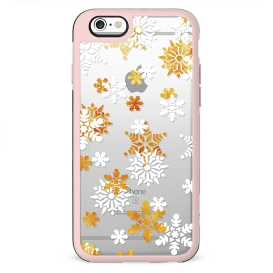 White golden snowflake clear case