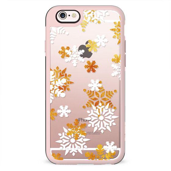 Golden white Cristmas snowflakes