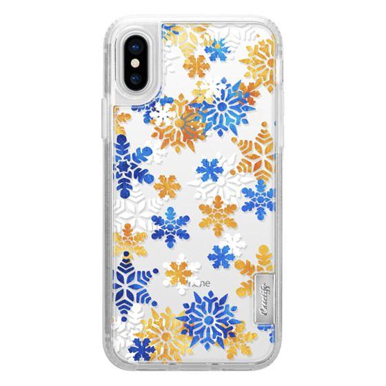 iPhone 7 Plus Cases - Blue gold white snowflakes