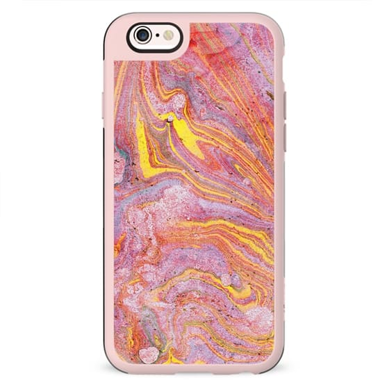 Pink yellow painted marble