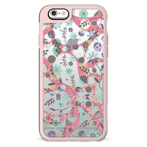 Pink turquoise floral paisley clear