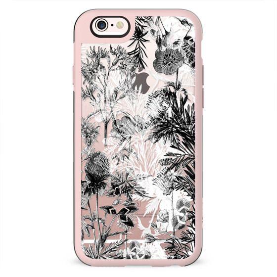 Monochrome floral line art clear case